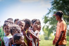The Aeta tribe children near Mount Pinatubo on Aug 27, 2017 in S Royalty Free Stock Images
