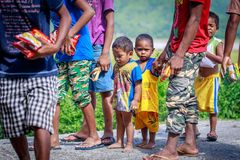 The Aeta tribe children near Mount Pinatubo on Aug 27, 2017 in S Stock Photography