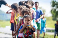 The Aeta tribe children near Mount Pinatubo on Aug 27, 2017 in S Stock Image