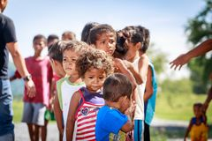 The Aeta tribe children near Mount Pinatubo on Aug 27, 2017 in S Royalty Free Stock Photography