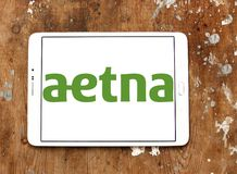 Aetna health care company logo. Logo of Aetna health care company on samsung tablet on wooden background. Aetna is an American managed health care company, which Royalty Free Stock Images