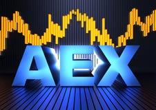 AEX (индекс обменом Амстердама) Стоковое Изображение