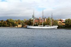 Af Chapman Sailboat in Stockholm, Schweden lizenzfreie stockbilder