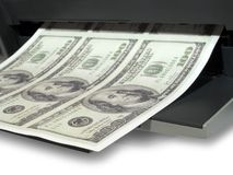 Af:drukken van geld Stock Afbeelding