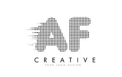 AF A F Letter Logo with Black Dots and Trails. Royalty Free Stock Images