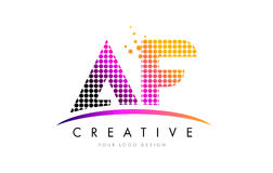 AF A F Letter Logo Design with Magenta Dots and Swoosh Stock Photography