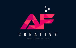 AF A F Letter Logo with Purple Low Poly Pink Triangles Concept Stock Photography