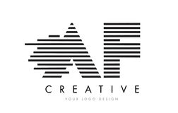 AF A F Zebra Letter Logo Design with Black and White Stripes Stock Photo