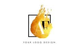 AF Gouden Brief Logo Painted Brush Texture Strokes Royalty-vrije Stock Afbeeldingen