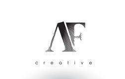 AF Logo Design With Multiple Lines and Black and White Colors. AF Logo Design With Multiple Lines. Artistic Elegant Black and White Lines Icon Vector Stock Image