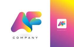 AF Logo Letter With Rainbow Vibrant Mooie Kleuren Kleurrijk t Stock Foto's