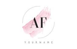 AF una lettera Logo Design dell'acquerello di F con il modello circolare della spazzola illustrazione vettoriale