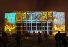 Afbeelding op de voorgevel van het Nationale die Museum door van Stanislaw Wyspianski wordt geïnspireerd te schilderen Krakau, Royalty-vrije Stock Foto's