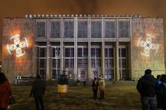 Afbeelding op de voorgevel van het Nationale die Museum door van Stanislaw Wyspianski wordt geïnspireerd te schilderen Krakau, Royalty-vrije Stock Afbeelding