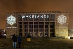 Afbeelding op de voorgevel van het Nationale die Museum door van Stanislaw Wyspianski wordt geïnspireerd te schilderen Krakau, Royalty-vrije Stock Foto