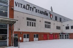 AFC Bournemouth Stadium in snow. AFC Bournemouth, Vitality Stadium in very rare snow, march 2018 Stock Photography