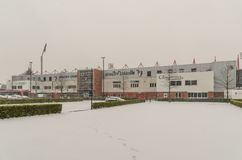 AFC Bournemouth Stadium in snow. AFC Bournemouth, Vitality Stadium in very rare snow, march 2018 Royalty Free Stock Photo