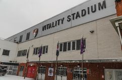 AFC Bournemouth Stadium in snow Royalty Free Stock Images