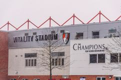 AFC Bournemouth Stadium in snow Royalty Free Stock Image