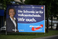 AFD. APRIL 2014 - BERLIN: a poster of the conservative anti european party Alternative fuer Deutschland  to the upcoming european elections with a portrait of Stock Image