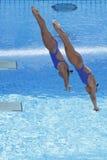 Afd.: Def. van Sychronised van wereldkampioenschap 3m vrouwen Royalty-vrije Stock Afbeeldingen