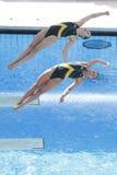 Afd.: Def. van Sychronised van wereldkampioenschap 3m vrouwen stock foto's