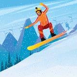 Afdaling van de berg op een snowboard vector illustratie