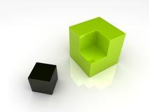 Afdeling van twee kubussen Royalty-vrije Stock Afbeelding