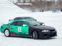 Afdrijvende auto's op ijs Royalty-vrije Stock Afbeelding