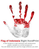 Afdruk juist wapen in kleur van nationale vlag van Indonesië Handprint juiste palm in rode en witte kleur Stock Foto