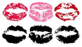 Afdruk van lippenstift Lippenspoor op witte achtergrond, vectorsilhouet wordt geïsoleerd dat Kusreeks Royalty-vrije Stock Afbeeldingen