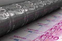 Afdrukkende Euro bankbiljetten Stock Foto