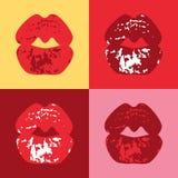 Afdrukwijfje een kus Vector illustratie Stock Afbeelding