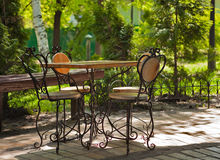 Сafe table with four old fashioned chair. The cafe table with four old fashioned chairs from Kiev, Ukraine Stock Photo