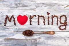 Afecto al café, corazón, cuchara Imagen de archivo libre de regalías