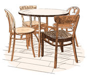 Сafeteria table with four chairs  on white Stock Image