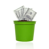Affär finans, besparing, bankrörelse - begrepp Oss dollarpengar som växer i kruka Royaltyfri Bild