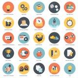 Affär, finanser och teknologisymbolsuppsättning stock illustrationer