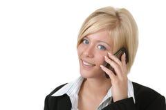 affär henne talande kvinna för mobil telefon arkivbild