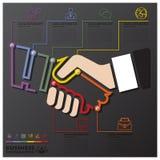 Affär Infographic för Timeline för handskakaanslutning Royaltyfri Foto