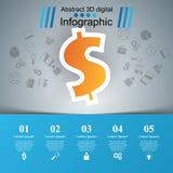 Affär Infographics Dollar pengarsymbol Fotografering för Bildbyråer