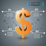 Affär Infographics Dollar pengarsymbol Royaltyfri Fotografi