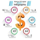 Affär Infographics Dollar pengarsymbol Royaltyfri Foto