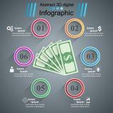 Affär Infographics Dollar pengarsymbol Arkivfoto