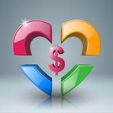 Affär Infographics Dollar pengarsymbol Royaltyfria Bilder