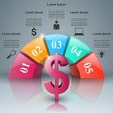 Affär Infographics Dollar pengarsymbol Arkivfoton