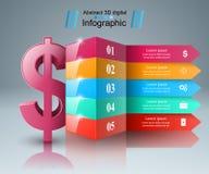 Affär Infographics Dollar pengarsymbol Arkivbild
