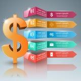 Affär Infographics Dollar pengarsymbol Arkivbilder