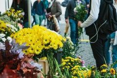 affär isolerad liten white 3d Gatablomsterhandel I förgrunden finns det härlig guling, och annat blommar Grabben rymmer a Arkivfoton