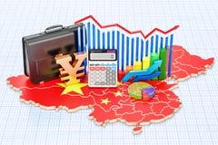 Affär, kommers och finans i det Kina begreppet, tolkning 3D vektor illustrationer